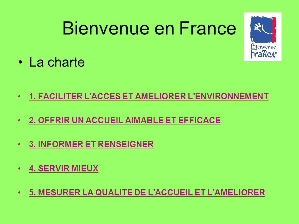 La charte 1. FACILITER L'ACCES ET AMELIORER L'ENVIRONNEMENT 2. OFFRIR UN ACCUEIL AIMABLE ET EFFICACE 3. INFORMER ET RENSEIGNER 4. SERVIR MIEUX 5. MESU