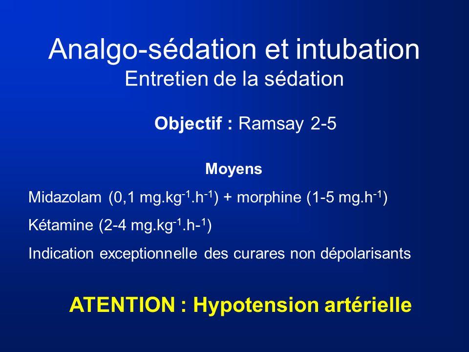 Analgo-sédation et intubation Entretien de la sédation Objectif : Ramsay 2-5 Moyens Midazolam (0,1 mg.kg -1.h -1 ) + morphine (1-5 mg.h -1 ) Kétamine