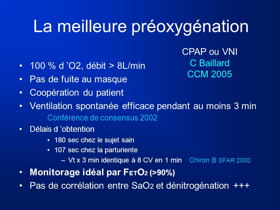 La meilleure préoxygénation 100 % d O2, débit > 8L/min Pas de fuite au masque Coopération du patient Ventilation spontanée efficace pendant au moins 3
