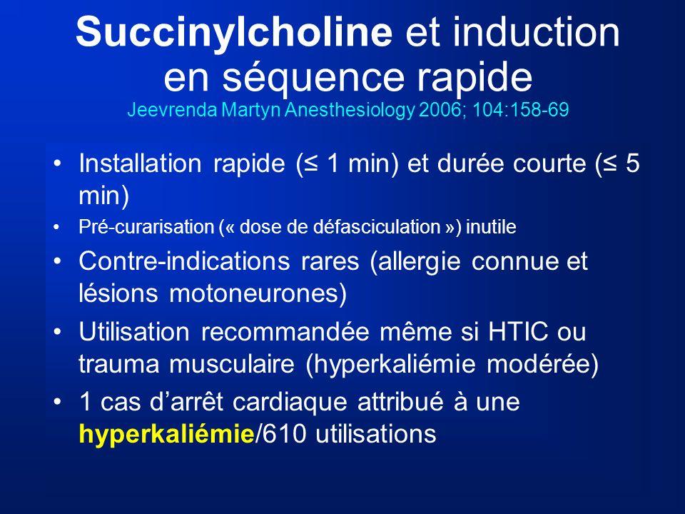 Succinylcholine et induction en séquence rapide Jeevrenda Martyn Anesthesiology 2006; 104:158-69 Installation rapide ( 1 min) et durée courte ( 5 min)