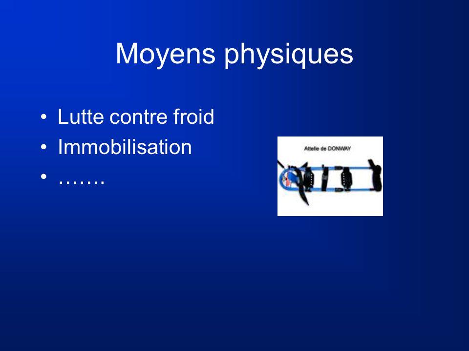 Moyens physiques Lutte contre froid Immobilisation …….