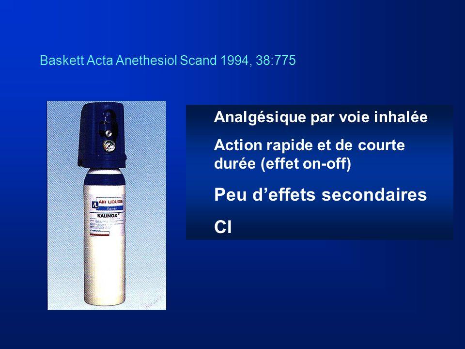 Baskett Acta Anethesiol Scand 1994, 38:775 Analgésique par voie inhalée Action rapide et de courte durée (effet on-off) Peu deffets secondaires CI