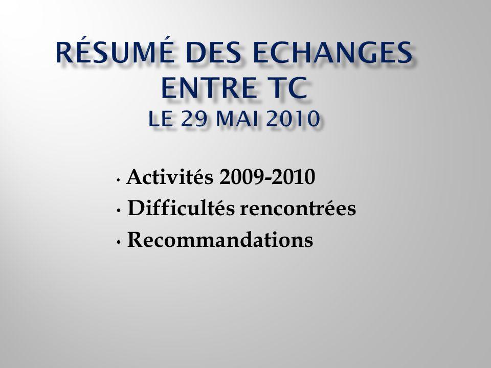 Activités 2009-2010 Difficultés rencontrées Recommandations