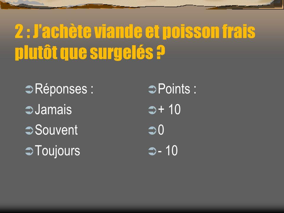 2 : Jachète viande et poisson frais plutôt que surgelés ? Réponses : Jamais Souvent Toujours Points : + 10 0 - 10
