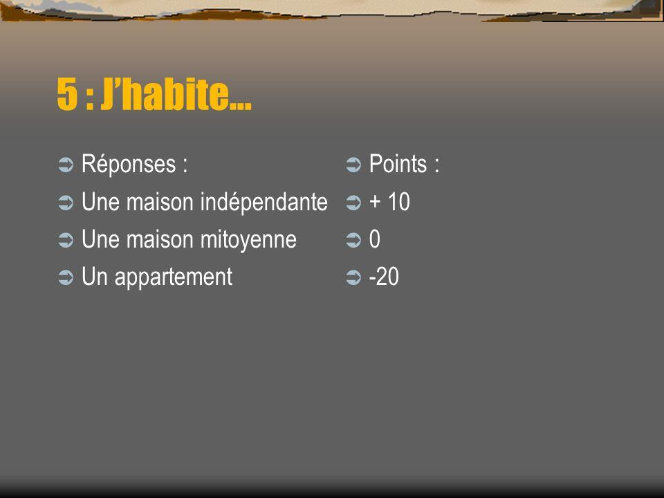 5 : Jhabite… Réponses : Une maison indépendante Une maison mitoyenne Un appartement Points : + 10 0 -20