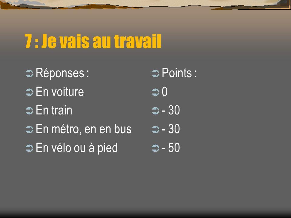 7 : Je vais au travail Réponses : En voiture En train En métro, en en bus En vélo ou à pied Points : 0 - 30 - 50
