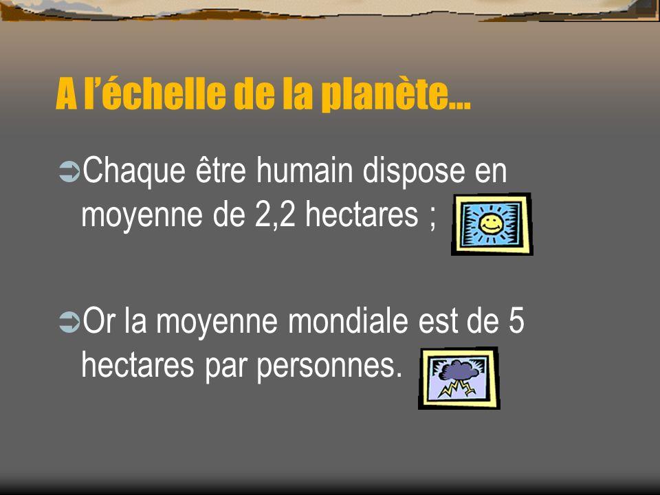 A léchelle de la planète… Chaque être humain dispose en moyenne de 2,2 hectares ; Or la moyenne mondiale est de 5 hectares par personnes.