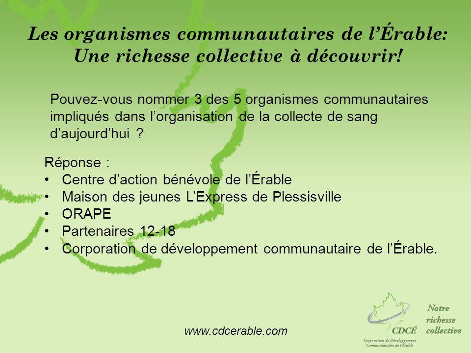 www.cdcerable.com Les organismes communautaires de lÉrable: Une richesse collective à découvrir! Pouvez-vous nommer 3 des 5 organismes communautaires