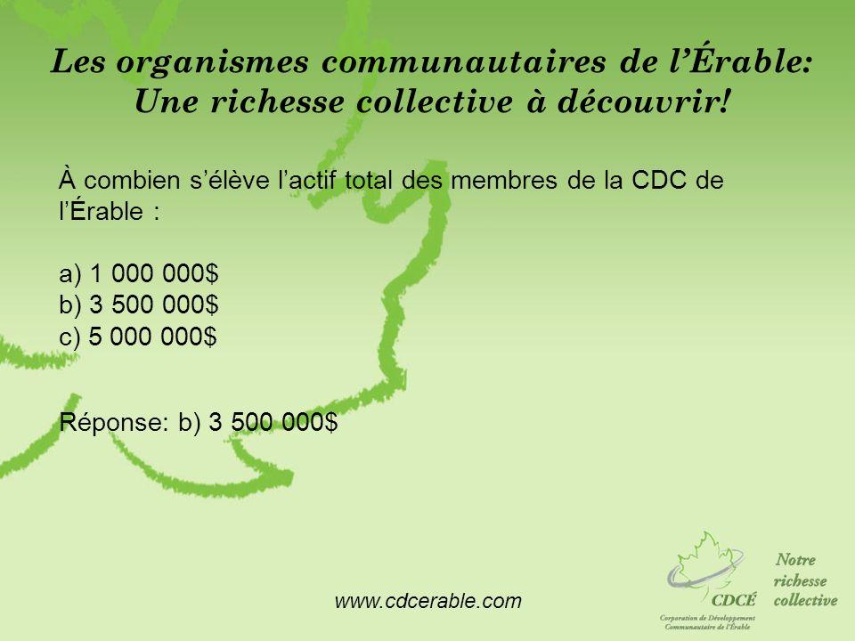 www.cdcerable.com Les organismes communautaires de lÉrable: Une richesse collective à découvrir! À combien sélève lactif total des membres de la CDC d