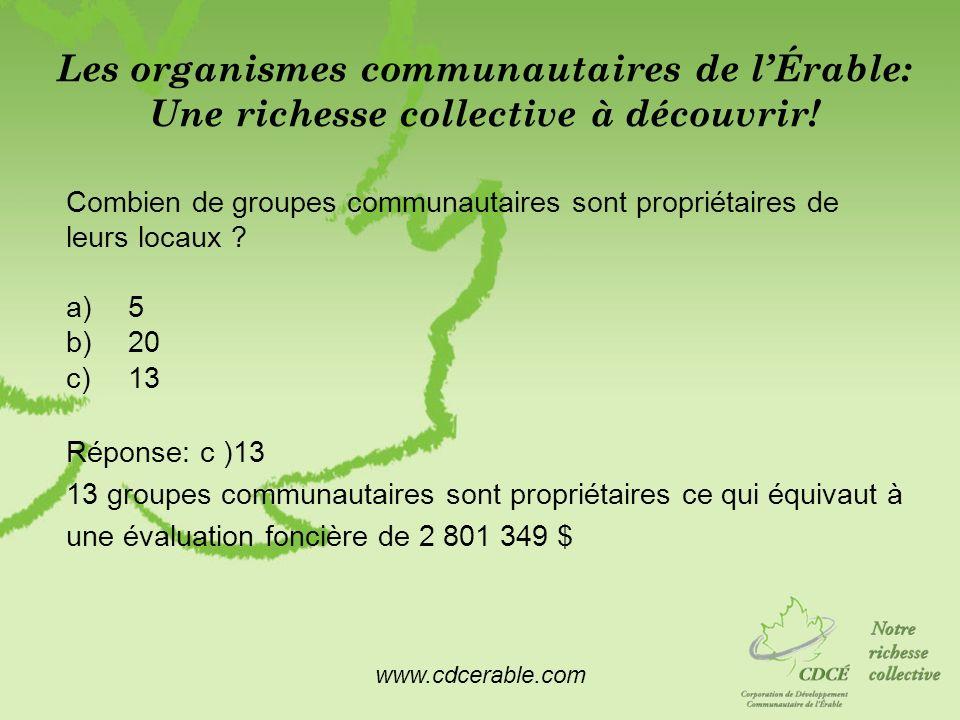 www.cdcerable.com Les organismes communautaires de lÉrable: Une richesse collective à découvrir! Combien de groupes communautaires sont propriétaires