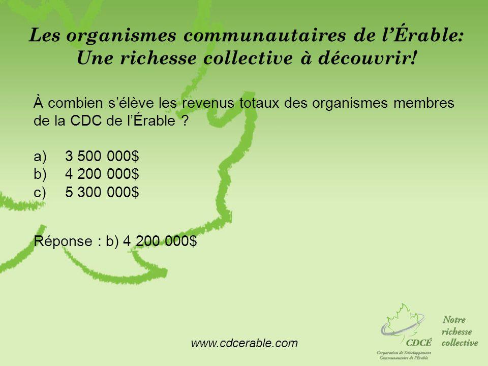 www.cdcerable.com Les organismes communautaires de lÉrable: Une richesse collective à découvrir! À combien sélève les revenus totaux des organismes me
