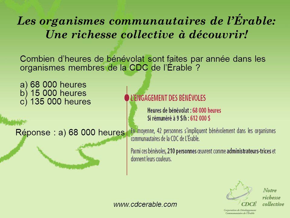 www.cdcerable.com Les organismes communautaires de lÉrable: Une richesse collective à découvrir! Combien dheures de bénévolat sont faites par année da