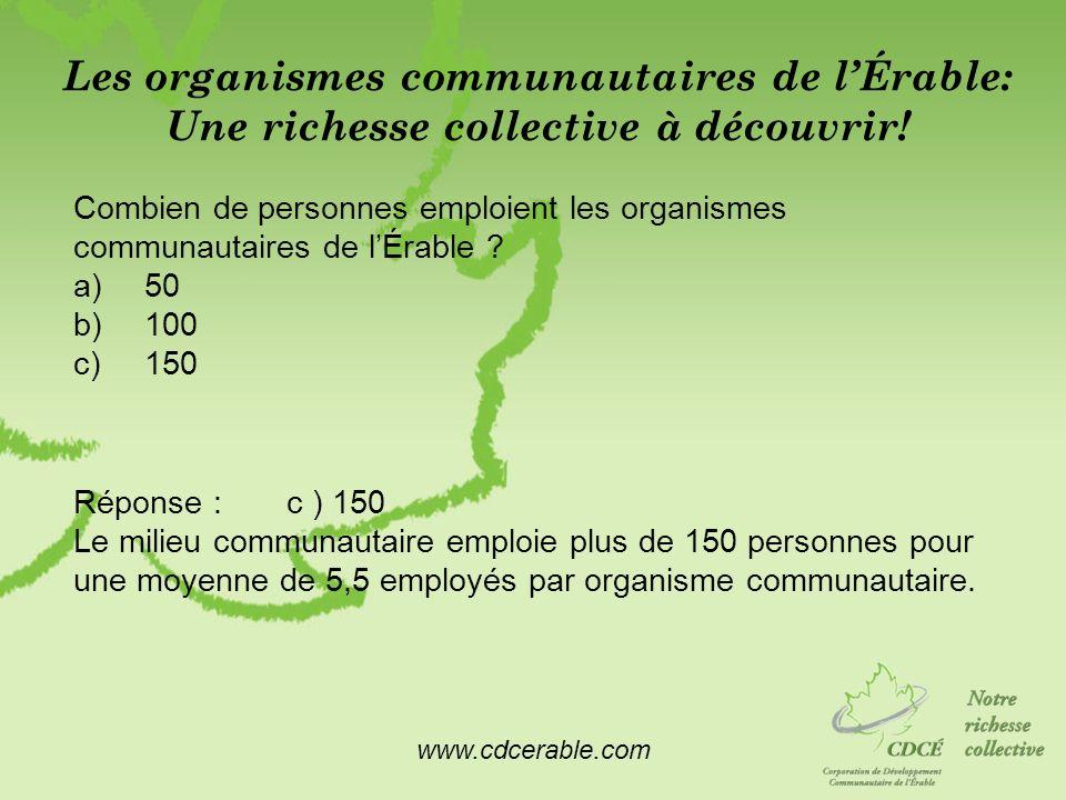 www.cdcerable.com Les organismes communautaires de lÉrable: Une richesse collective à découvrir! Combien de personnes emploient les organismes communa
