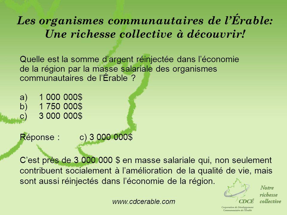 www.cdcerable.com Les organismes communautaires de lÉrable: Une richesse collective à découvrir! Quelle est la somme dargent réinjectée dans léconomie