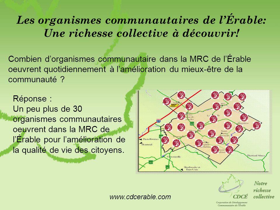 www.cdcerable.com Les organismes communautaires de lÉrable: Une richesse collective à découvrir! Combien dorganismes communautaire dans la MRC de lÉra