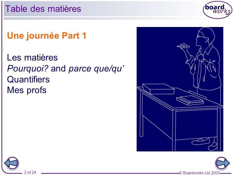 © Boardworks Ltd 2005 2 of 24 Une journée Part 1 Les matières Pourquoi? and parce que/qu Quantifiers Mes profs Table des matières