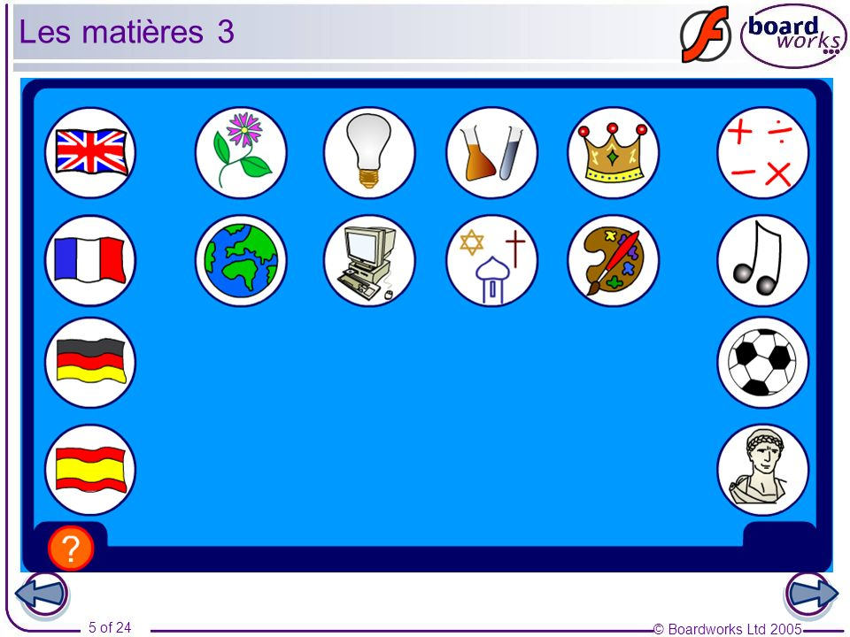 © Boardworks Ltd 2005 6 of 24 Les matières 4