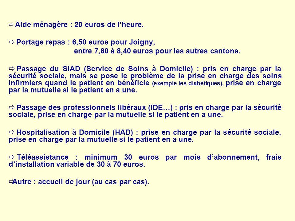 Aide ménagère : 20 euros de lheure. Portage repas : 6,50 euros pour Joigny, entre 7,80 à 8,40 euros pour les autres cantons. Passage du SIAD (Service
