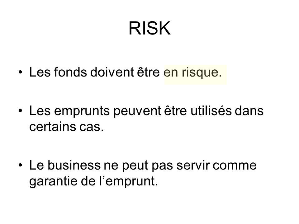 RISK Les fonds doivent être en risque. Les emprunts peuvent être utilisés dans certains cas.
