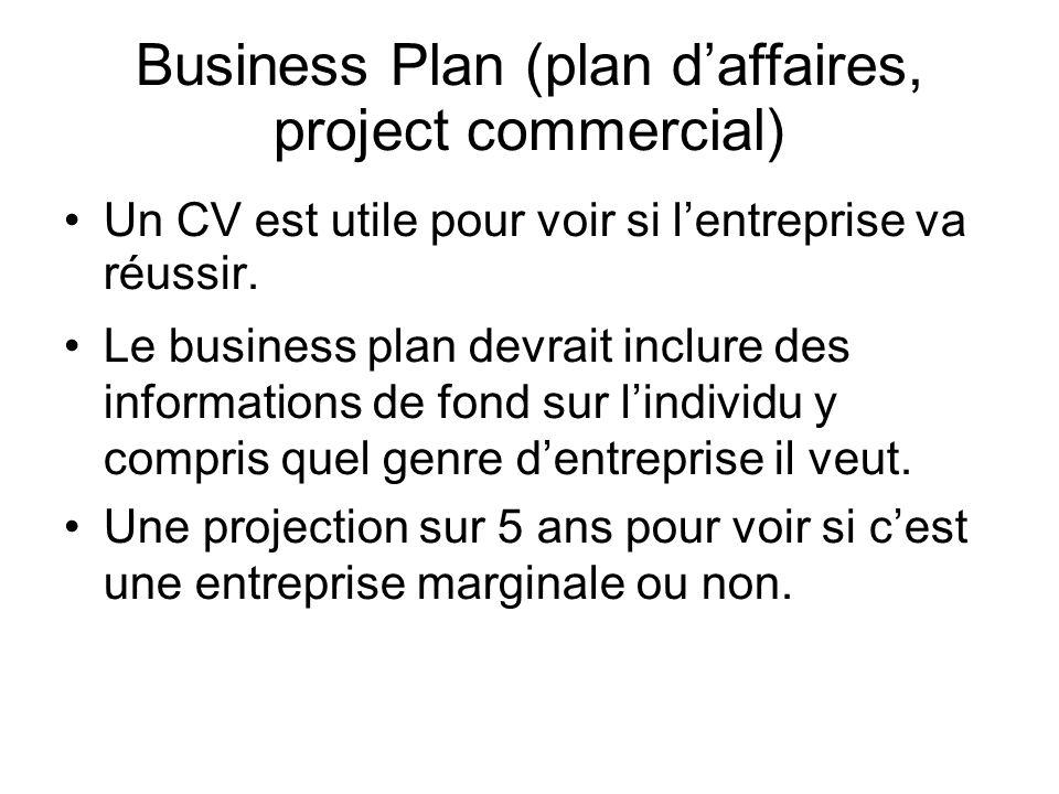 Business Plan (plan daffaires, project commercial) Un CV est utile pour voir si lentreprise va réussir.