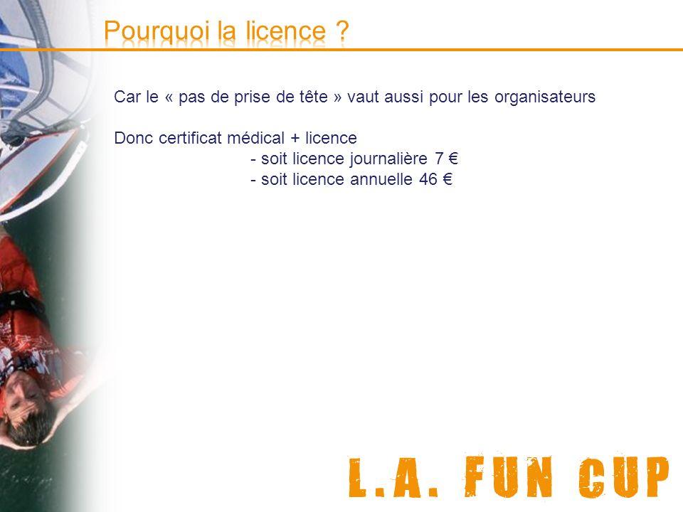 © e-doceo Car le « pas de prise de tête » vaut aussi pour les organisateurs Donc certificat médical + licence - soit licence journalière 7 - soit lice
