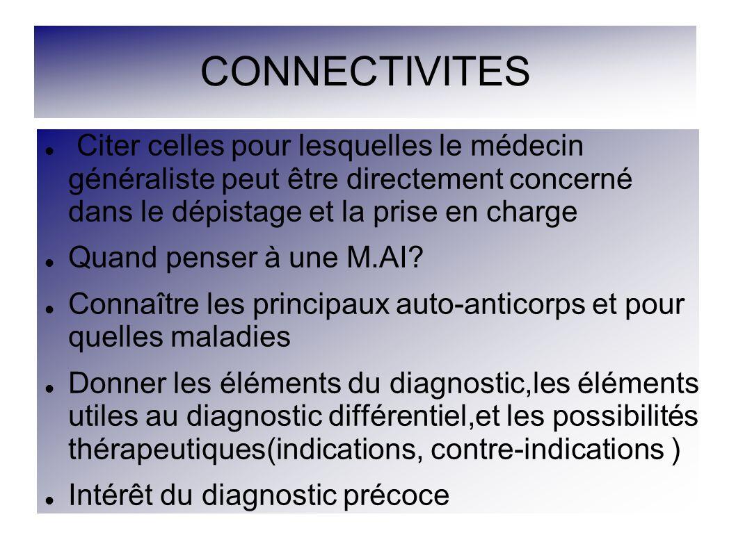 CONNECTIVITES 5 à 10% de la population Collagénoses, maladies systémiques Maladies auto-immunes,non spécifiques d organe Mise en évidence d Anticorps et/ou réaction à médiation cellulaire contre des cibles antigéniques