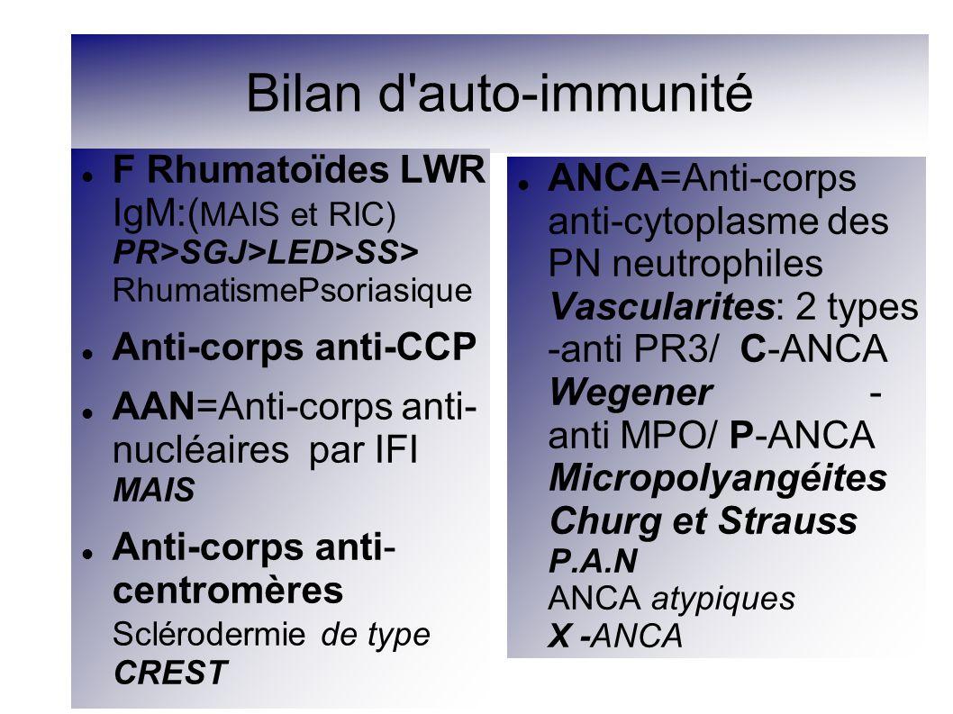 Anticorps anti-nucléaires: AAN ou ACAN IFI 4 aspects de F Périphèrique: Ac anti- Histone(Lupus induit) Homogène: Ac anti- DNA natifs : (cible nucléaire)LED Moucheté: Ac anti ENA(Ag soluble nucléaire) Nucléolaire: Ac anti ARN Anticorps anti-ENA 1-Anti Sm: LUPUS mais rare 15à 30% 2-Anti RNP : SHARP (95à100%) LED (30%) SGJ (15%) 3-Anti SS: SGS anti- Ro/SSA (50 à 70 %) anti- La -SSB (20 à 50%) SGS primaire 4-Anti Pm: PM 5-Anti Scl 70: Scl S