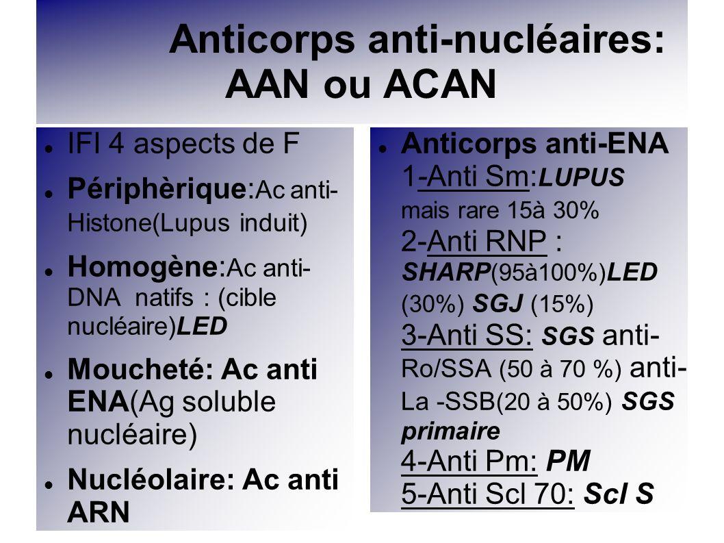 Anticorps anti-nucléaires: AAN ou ACAN IFI 4 aspects de F Périphèrique: Ac anti- Histone(Lupus induit) Homogène: Ac anti- DNA natifs : (cible nucléair