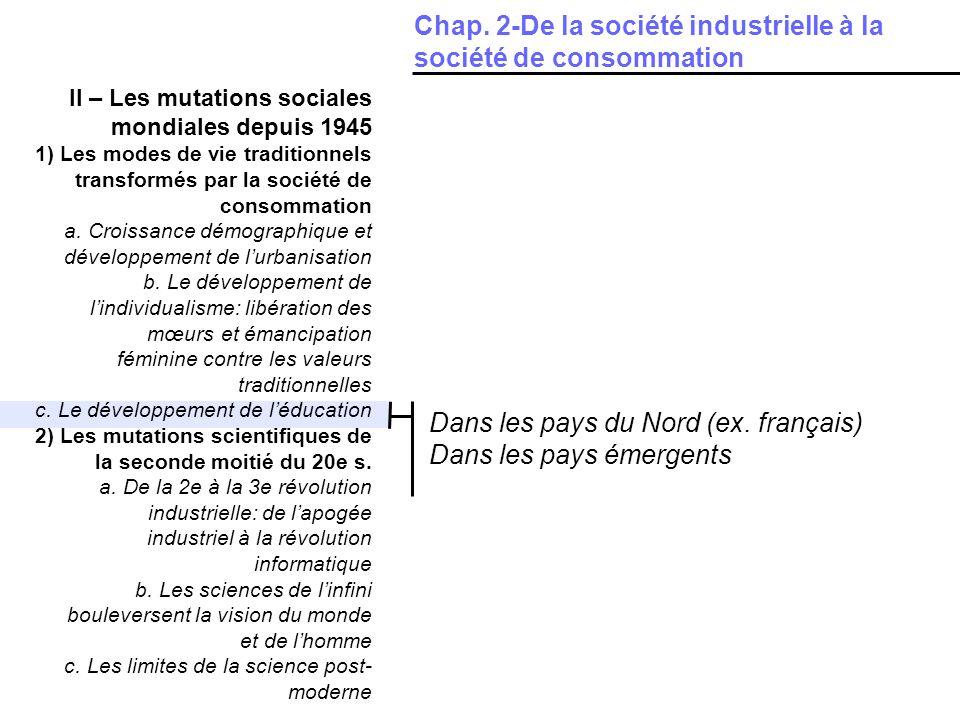 II – Les mutations sociales mondiales depuis 1945 1) Les modes de vie traditionnels transformés par la société de consommation a. Croissance démograph