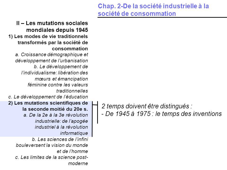 II – Les mutations sociales mondiales depuis 1945 1) Les modes de vie traditionnels transformés par la société de consommation a.