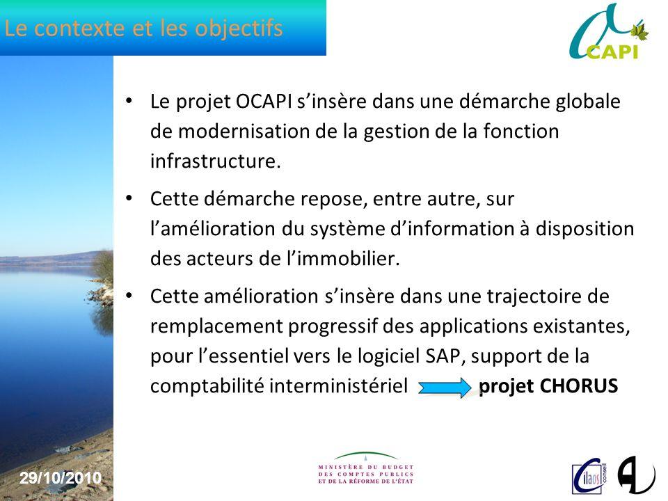 29/10/2010 3 Le contexte et les objectifs Le projet OCAPI sinsère dans une démarche globale de modernisation de la gestion de la fonction infrastructure.