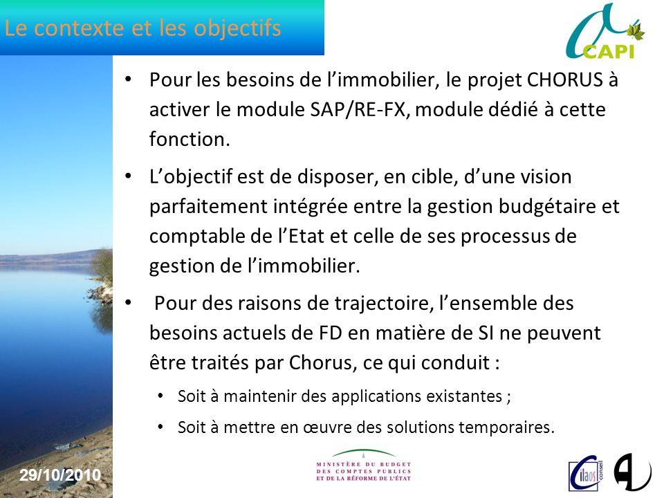 29/10/2010 4 Le contexte et les objectifs Pour les besoins de limmobilier, le projet CHORUS à activer le module SAP/RE-FX, module dédié à cette fonction.