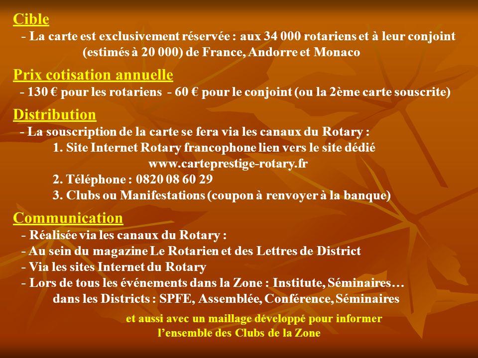 Une carte Premier Rotary avec tous les services associés à Visa Premier, offrant des avantages exclusifs pour la Fondation Rotary, les Clubs et les Rotariens, sans changer de banque Carte Visa Premier - Assistance et assurances étendues - Avantages auprès des partenaires Premier Dons au Rotary - Versement de 50 par an au Rotary - 1ère année : au club du porteur - Les années suivantes : à la Fondation - Versement à la Fondation de 0,05 à chaque paiement réalisé avec la carte Carte Prestige Rotary - Une carte exclusive personnalisée aux couleurs du Rotary - Une carte réservée aux rotariens et leur conjoint Programme davantages exclusifs - Des offres de réductions, - Conditions préférentielles, - Invitations réservées aux rotariens… Gestion facilitée des finances - Carte à débit différé par défaut - Suivi du compte en ligne & par téléphone - Relevé de compte papier & Internet - N° de téléphone service client dédié - SMS dinformation des dépenses et de la date des prélèvements