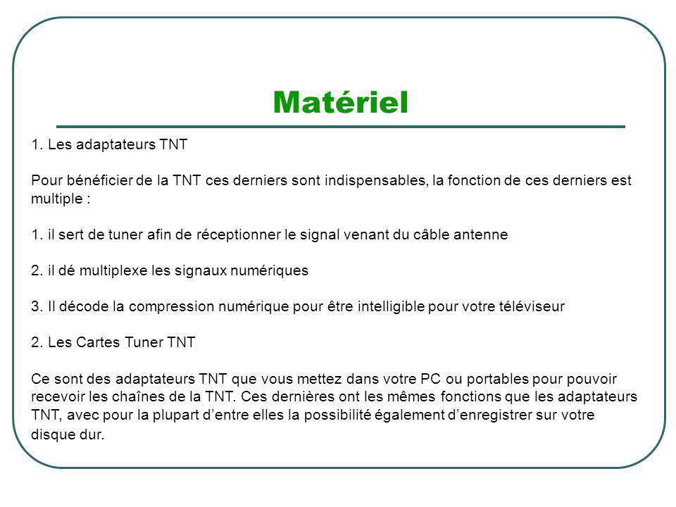 Matériel 1. Les adaptateurs TNT Pour bénéficier de la TNT ces derniers sont indispensables, la fonction de ces derniers est multiple : 1. il sert de t