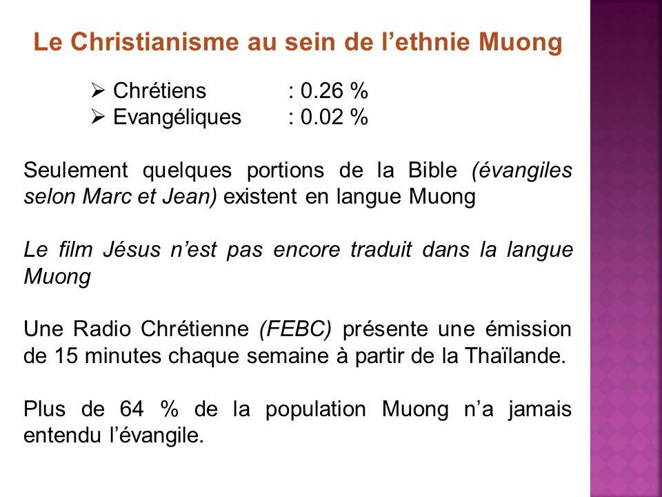 Le Christianisme au sein de lethnie Muong Chrétiens : 0.26 % Evangéliques : 0.02 % Seulement quelques portions de la Bible (évangiles selon Marc et Je