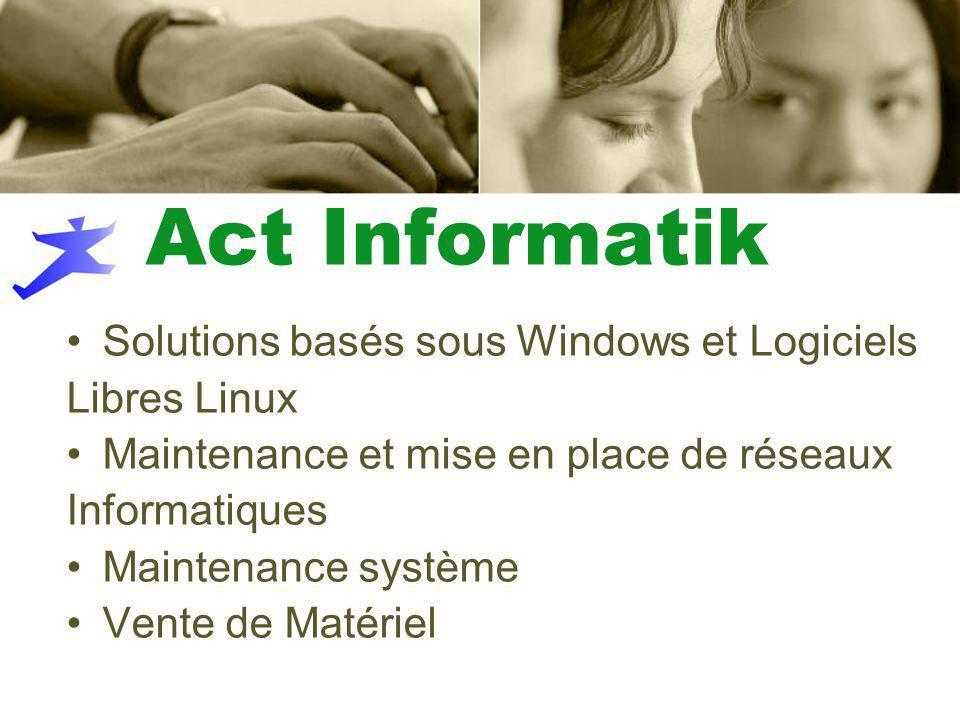 Act Informatik Solutions basés sous Windows et Logiciels Libres Linux Maintenance et mise en place de réseaux Informatiques Maintenance système Vente de Matériel