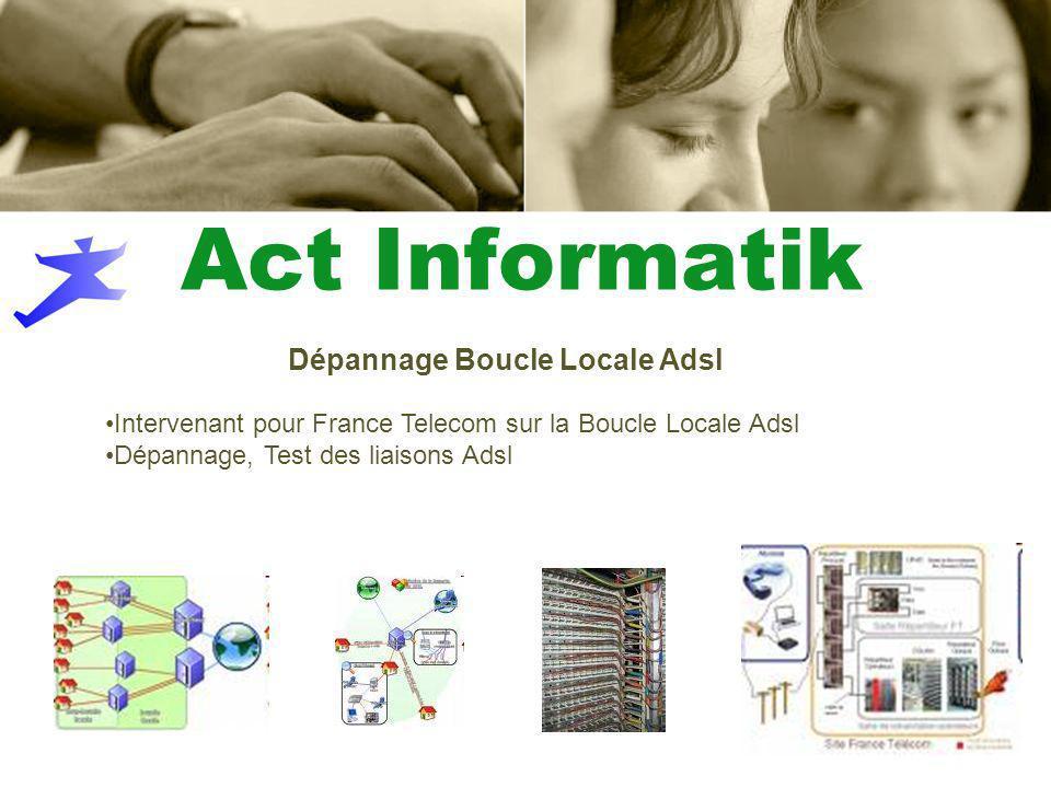 Intervenant pour France Telecom sur la Boucle Locale Adsl Dépannage, Test des liaisons Adsl Dépannage Boucle Locale Adsl Act Informatik