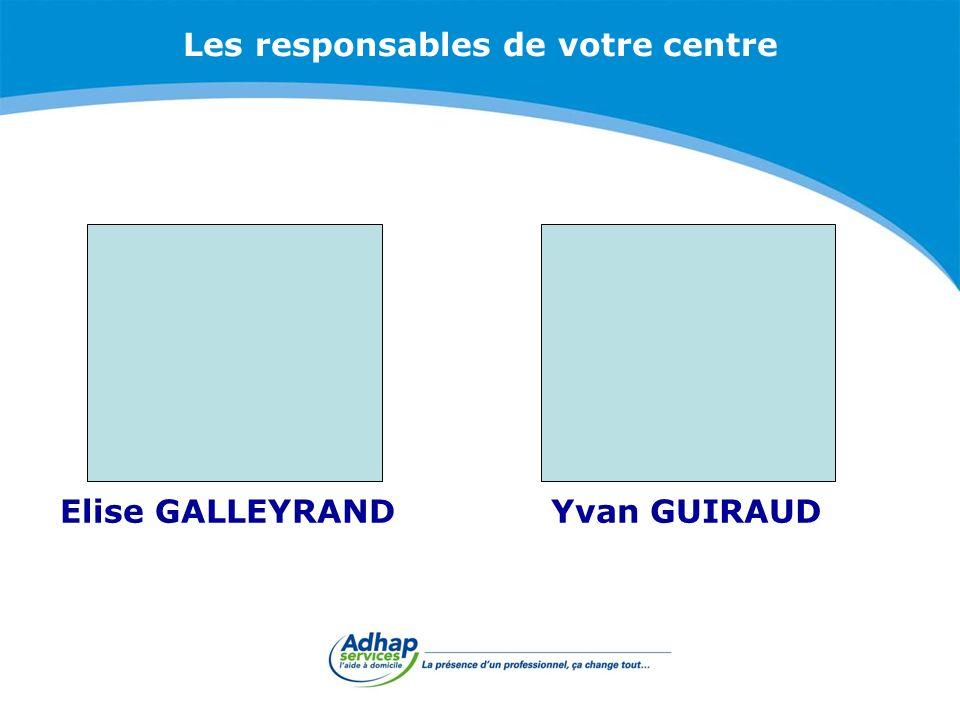 Les responsables de votre centre Yvan GUIRAUDElise GALLEYRAND