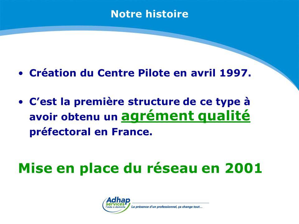 Notre histoire Création du Centre Pilote en avril 1997. Cest la première structure de ce type à avoir obtenu un agrément qualité préfectoral en France