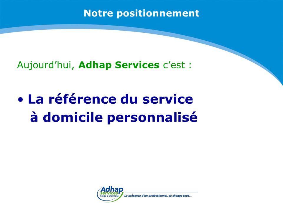 Notre positionnement Aujourdhui, Adhap Services cest : La référence du service à domicile personnalisé