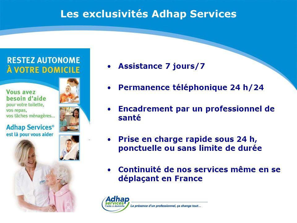 Les exclusivités Adhap Services Assistance 7 jours/7 Permanence téléphonique 24 h/24 Encadrement par un professionnel de santé Prise en charge rapide