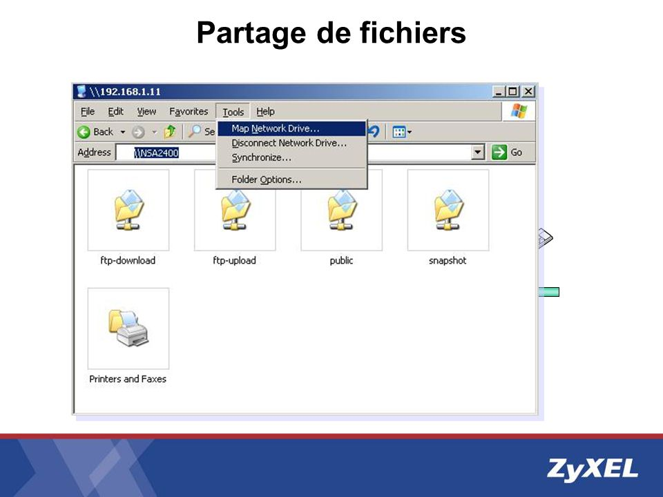 Application Server Active Directory NSA-2400USB Disk LAN Partage de fichiers