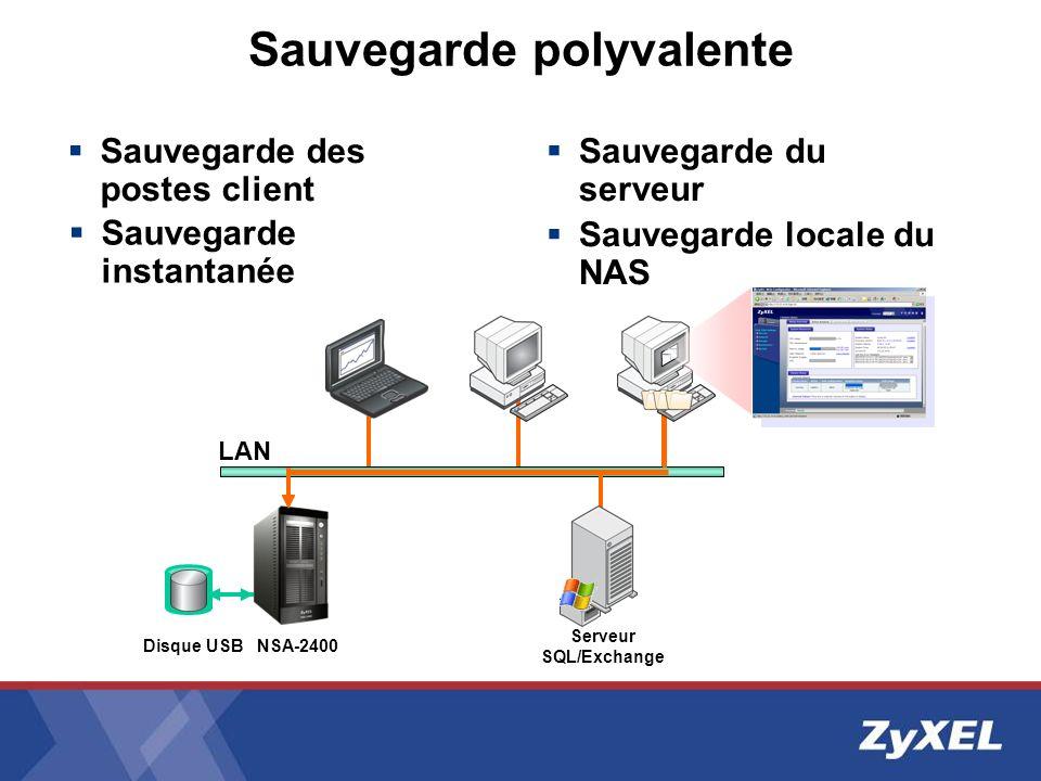 Sauvegarde polyvalente Serveur SQL/Exchange NSA-2400Disque USB LAN Sauvegarde du serveur Sauvegarde locale du NAS Sauvegarde des postes client Sauvega