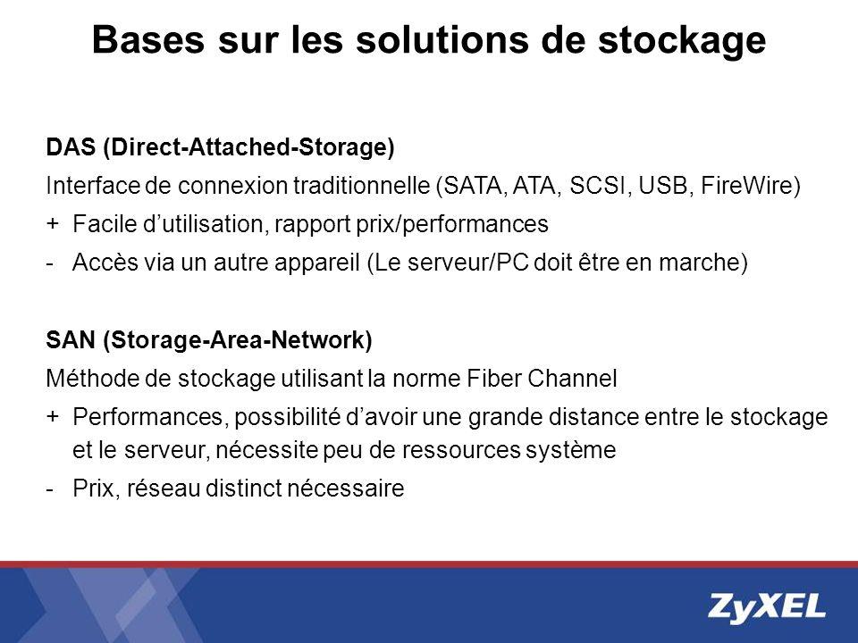 Bases sur les solutions de stockage DAS (Direct-Attached-Storage) Interface de connexion traditionnelle (SATA, ATA, SCSI, USB, FireWire) + Facile duti