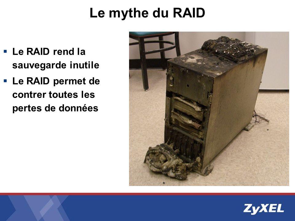 Le mythe du RAID Le RAID rend la sauvegarde inutile Le RAID permet de contrer toutes les pertes de données