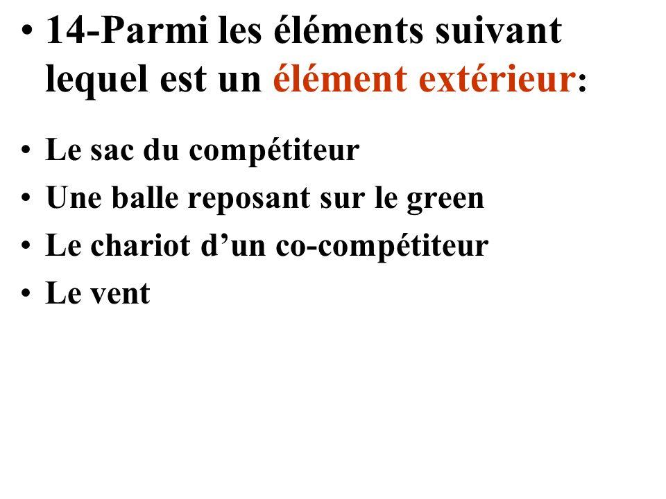 14-Parmi les éléments suivant lequel est un élément extérieur : Le sac du compétiteur Une balle reposant sur le green Le chariot dun co-compétiteur Le