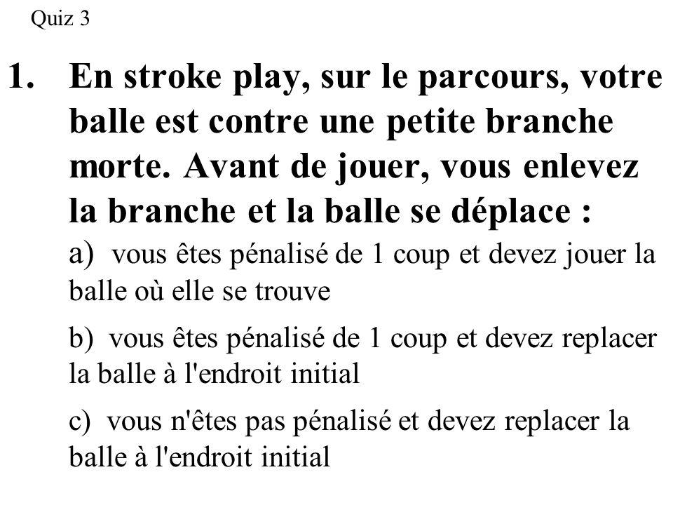 2.En stroke play, sur le parcours, votre balle est contre une bouteille abandonnée.