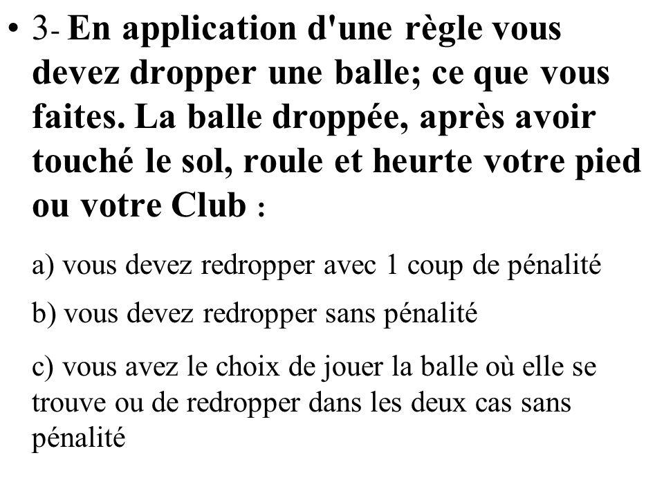 3 - En application d'une règle vous devez dropper une balle; ce que vous faites. La balle droppée, après avoir touché le sol, roule et heurte votre pi