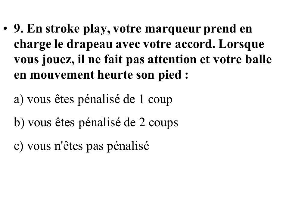 9. En stroke play, votre marqueur prend en charge le drapeau avec votre accord. Lorsque vous jouez, il ne fait pas attention et votre balle en mouveme