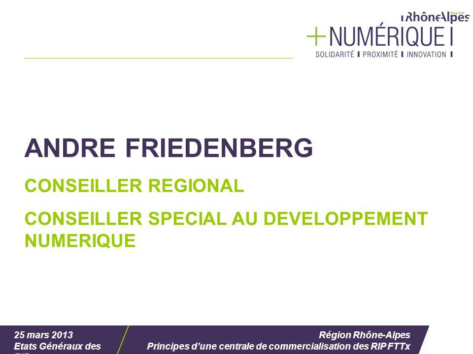 25 mars 2013 Etats Généraux des RIP Région Rhône-Alpes Principes dune centrale de commercialisation des RIP FTTx ANDRE FRIEDENBERG CONSEILLER REGIONAL CONSEILLER SPECIAL AU DEVELOPPEMENT NUMERIQUE